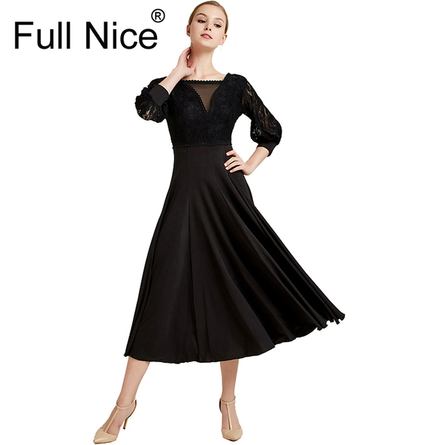 Ballroom Dance Dress Modern Dance Ribbon Long Sleeve Long Length Dress Flamenco Rumba Samba Waltz Dress Standard Practice