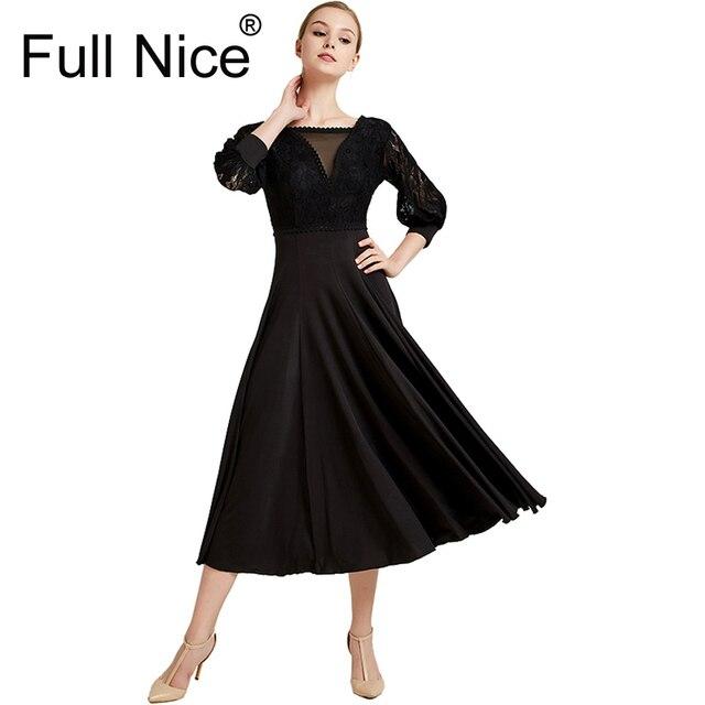 Vestido de baile de salón de baile moderno con cinta de baile de manga larga vestido de largo Flamenco Rumba Samba vestido de práctica estándar
