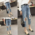 2017 New Arrivals Ripped Overalls Women Spring Loose Wide Jeans Female Light Blue Torn Jeans Elastic Holes Jean Pants for Girls