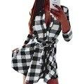 Lisli Otoño Vestido de Camisa A Cuadros Vestidos de Estilo Vintage con Botones Vestido de Algodón de Manga Tres Cuartos Mujeres Plaid Sashes 01B0508