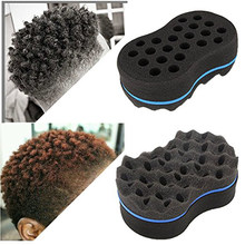 hair styling tools black and blue wave-shaped and multi-holes side Double Sided Braid Twist Hair Curl Wave Hair Sponge Brush(China)