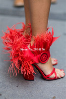 New Fashion Women Open Toe Satin Red Black Pink Chunky Heel Feather Sandals Ankle Wrap Thick High Heel Sandals Dress Shoes