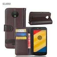 KLAIDO Genuine Cow Leather Case For Motorola Moto C Plus Phone Case For Moto C Plus