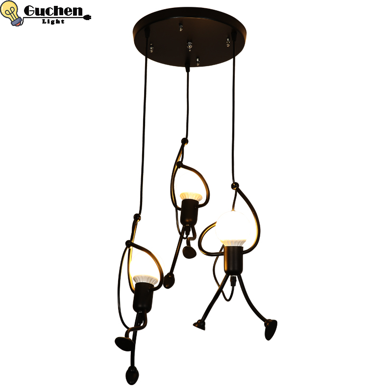 Nordic industrial Pendant Lamps iron Human lampshade Creative droplight restaurant barbershop coffee shop home Decor LED lustre Nordic industrial Pendant Lamps iron Human lampshade Creative droplight restaurant barbershop coffee shop home Decor LED lustre
