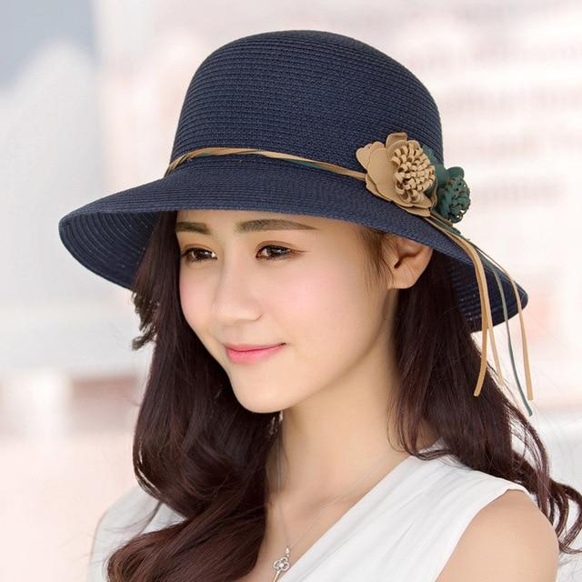 Summer Hats For Women Part - 41: 2017 Summer Hats Women Flowers Tassel Wide Brimmed Panama Visor Hat Chapeu  Feminino Sun Beach Vacation