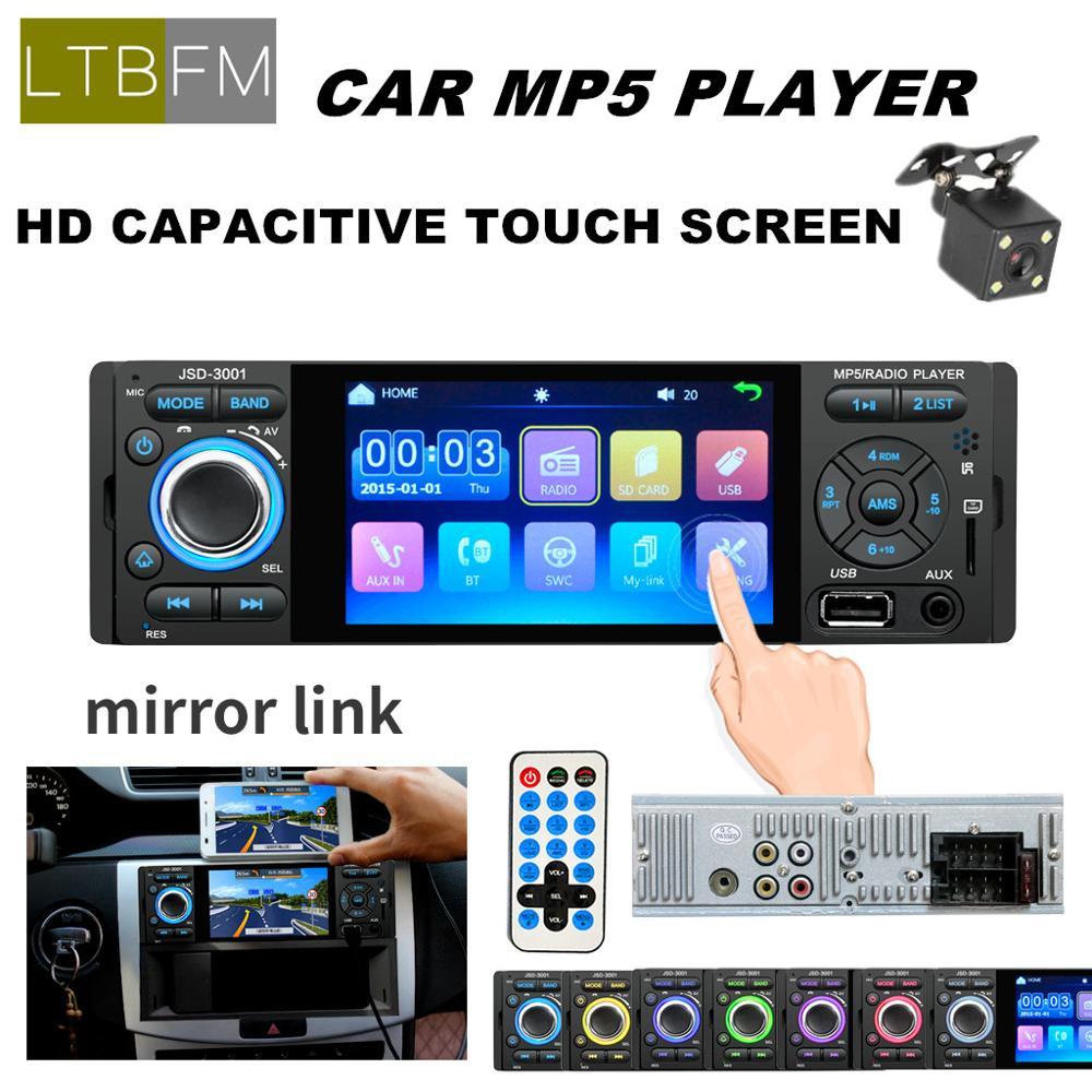 LTBFM 1 Autoradio Rádio Do Carro um Din JSD-3001 4.1 1Din MP5 Touch Screen Player Do Carro Do Bluetooth Estéreo Do Carro Auto Câmera Rádio ligação espelho
