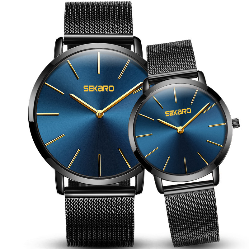 New Sekaro Watches Couple Quartz Watch Men  Women Watches 6mm Ultra-thin 30m Waterproof Love Watch Luxury Fashion Bracelet Table