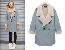 2014 New Korean light blue women imitated double-faced fur coat full sleeve double breasted outerwear polo collar long coat E391