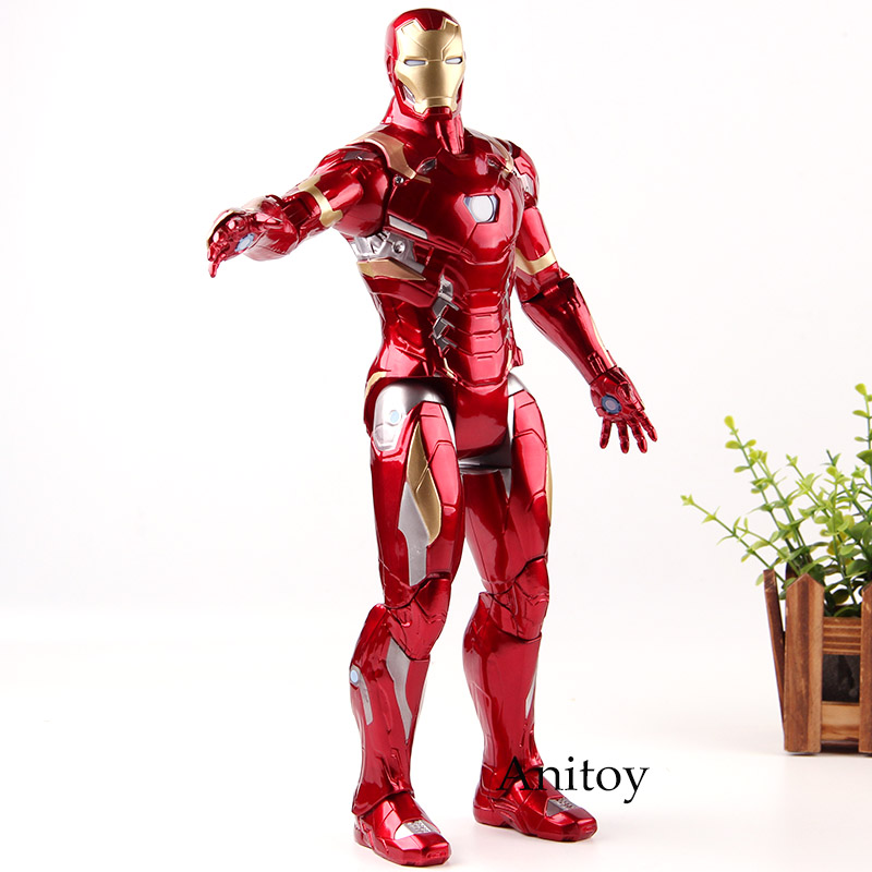 Captain American Civil War Iron Man Ironman Figurine Lighting PVC Action Figures Marvel Collection Model Toys