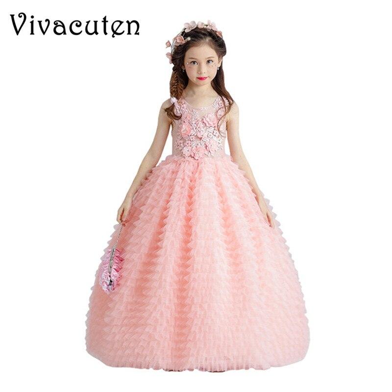 где купить Flower Girl Dresses Wedding Appliques Ball Gown Girls Formal Dress Birthday Costume Floor Length First Holy Communion Dress F229 дешево