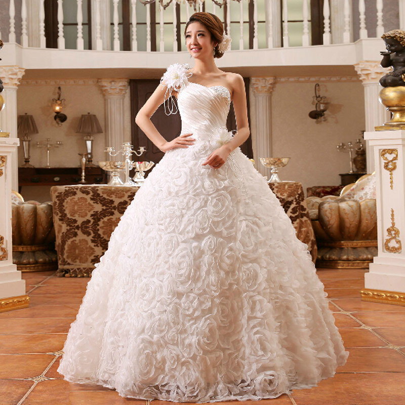 New 2016 Arrival Bride Wedding Dress One Shoulder Princess Lace ...