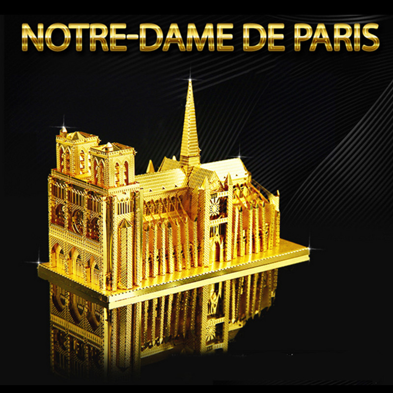 Gold Color Notre Dame All Metal Puzzle 3D DIY Toy For Children Juguetes Educativos Building Model Magnet Kids Toys
