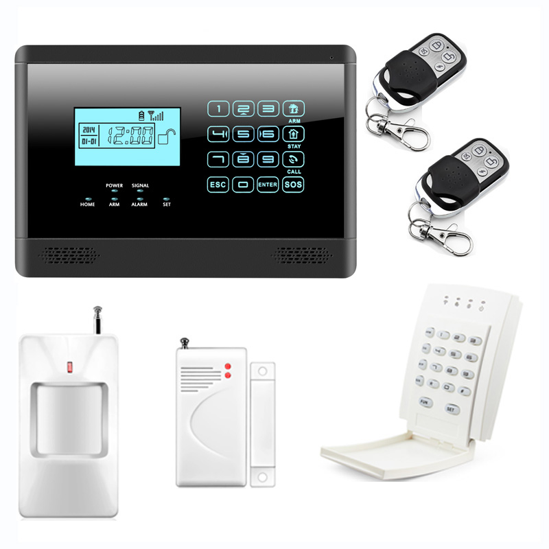 Alarm Mainframe Kits Wireless GSM SMS Home Emergency Alert Security Alarm System with Wireless Password Keypad, Touch Screen wireless gsm sms home security alarm system fire smoke alarm alert touch screen free shipping 8 door gap detector