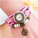 vintage wrist watches ladies elegant women's watch with   wooden beads rose pendant quartz girls watch relogio feminino 6932