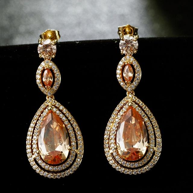 2016 New Water Drop Earrings With champagne Cubic Zirconia Long Dangle Earrings Crystal Jewelry For Women