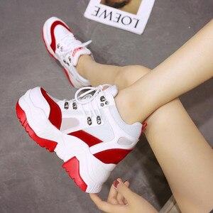Image 4 - ¡Novedad de 2019! Zapatos de plataforma informales para Mujer, zapatos de malla con tacón de cuña transpirables, zapatillas de deporte de suela gruesa de 10CM para otoño, Deportivas para Mujer