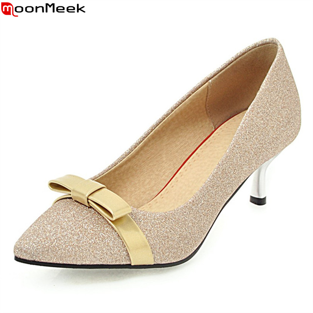 MoonMeek spring summer sexy ladies pumps high heels slip on with butterfly knot pointed toe thin heels women party shoes new 2017 spring summer women shoes pointed toe high quality brand fashion womens flats ladies plus size 41 sweet flock t179