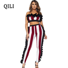 QILI Women Off The Shoulder Striped Jumpsuits Ruffles Two Piece Set Skinny Sexy Jumpsuit Plus Size High Street Casual Sets plus shoulder knot striped cami jumpsuit