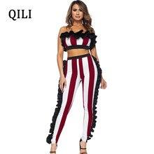 c7efa1cb055d QILI Women Off The Shoulder Striped Jumpsuits Ruffles Two Piece Set Skinny Sexy  Jumpsuit Plus Size