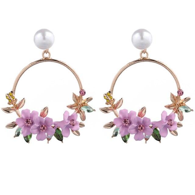 Elegant Korean Rhinestone Flower Big Round Circle  Earrings Charm Imitated Pearl Wedding Party Jewelry  For Women