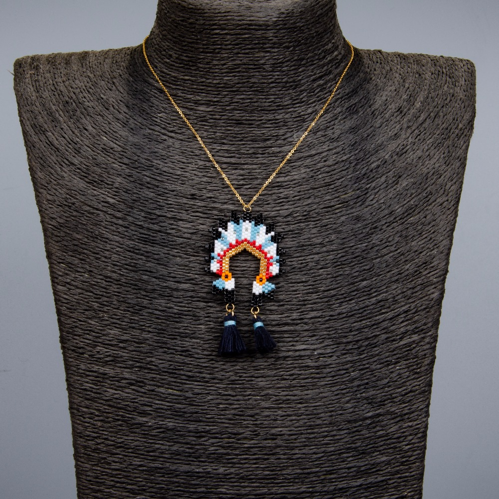 Shinus Wholesale 10pcs lot MIYUKI Necklace Handmade Woven Indian Hat Summer Jewelry Beaded Adjustable Delica Seed Beads Chain in Chain Necklaces from Jewelry Accessories