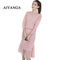 Knitting Sets Autumn New Women S Clothing Elegant Pearls Medium Long Female Knitted 2 Pieces Pack