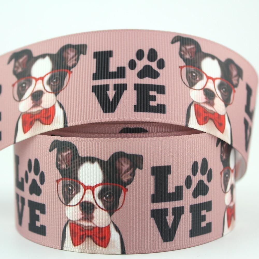 "GROSGRAIN i love my french bulldog chien imprimé ruban 7//8 /"" 22mm"