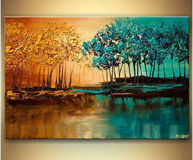 Modern fashion abstract oil painting on canvas abstract tree of bank paintings NO frame in Painting Calligraphy from Home Garden