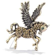 be9d95ed5b2d6 i-Remiel Retro Metal Badge Flying Horse Crystal Brooch Pin Women Jewellery  Birthday Gifts Men