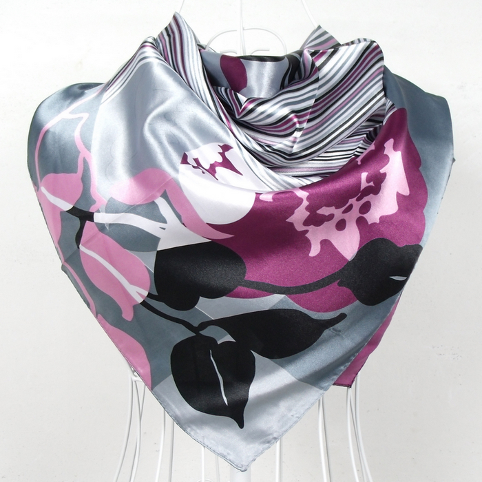 2017 Elegent Women Large Square Silk Scarf Printed,90*90cm Fashion Spring And Autumn Grey And Purple Polyester Silk Scarf Shawl(China)