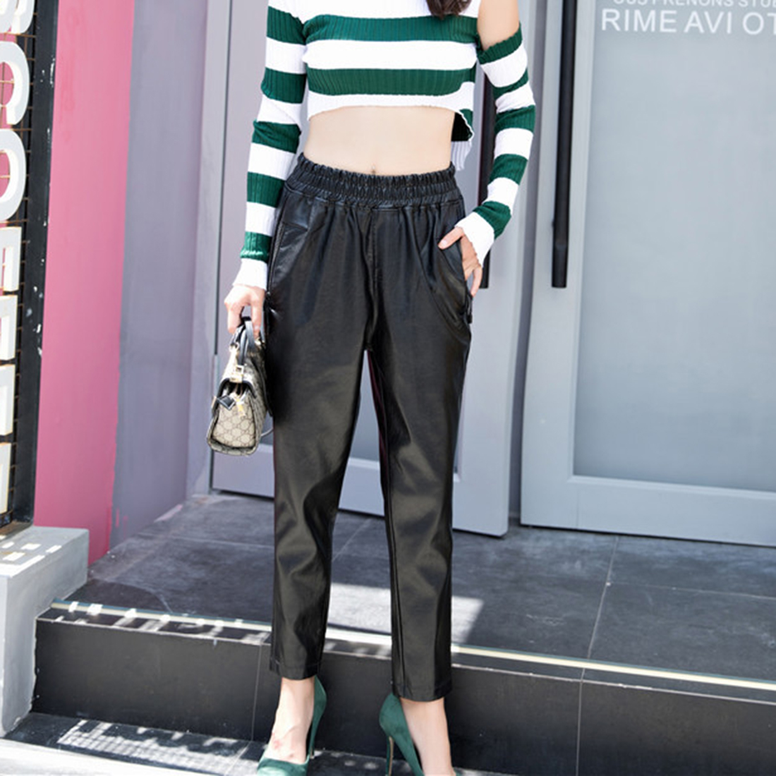 black leather pants women Autumn winter 2017 sexy high waist trousers pencil pants capris Casual Solid Leather Trousers