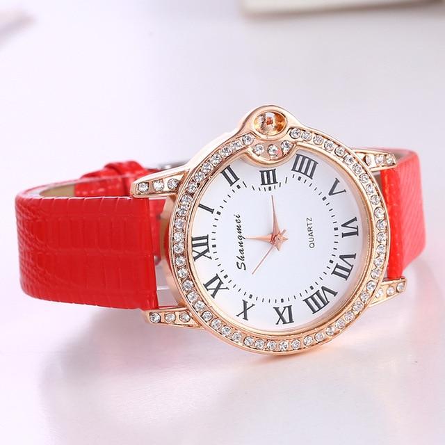 Women Watches Rhinestone Luxury Lady Wristwatches Leather Fashion Causal Dress W