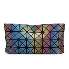 2016 Fashion Women Pearl Bag Diamond Lattice Geometry Quilted Handbag Geometric Mosaic Laser Cube Gradient chain Shoulder bag