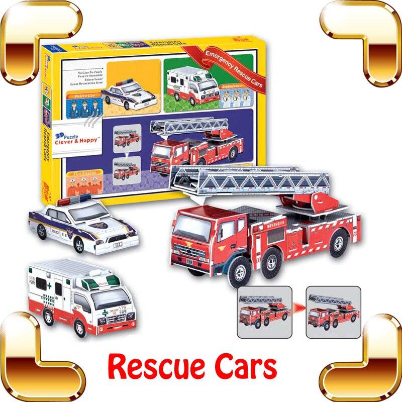 Nouveau bricolage cadeau d'urgence voitures de sauvetage 3D Puzzle modèle voitures éducation Puzzle pour enfants apprentissage famille travail ensemble IQ jeu