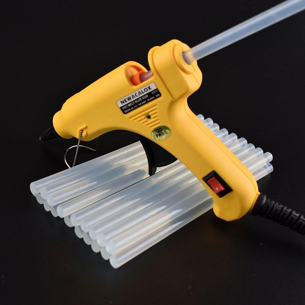 NEWACALOX-bâtons à colle chaude, blanc/noir/jaune, 7mm x 150mm, 20 pièces, pour Mini pistolet thermique électrique, réparation artisanale