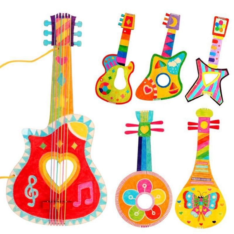 DIY Children Mini Guitar Toys Handmade Kids Gitaar Painting Child Ukulele Kindergarten Crafts Teaching Aids Early Education Toy