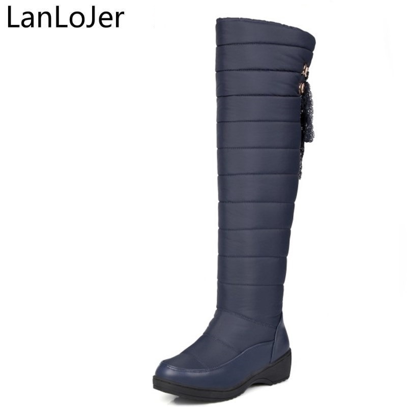 LanLoJer Plus Size 35-44 New Warm Down Snow Boots Round Toe Platform Thigh High Boots Women Over The Knee Boots Winter Botas