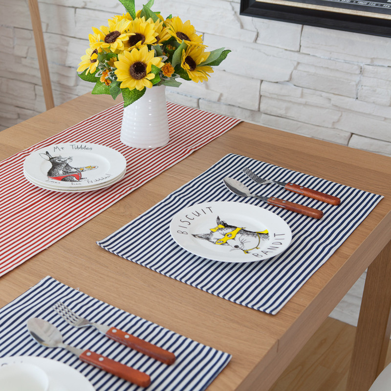 Free Shiping Blue Stripe Placemat Dining Table Coaster Cloth Insulation Coffe Tea Cup Pad Kitchen Mantel Individual For Table