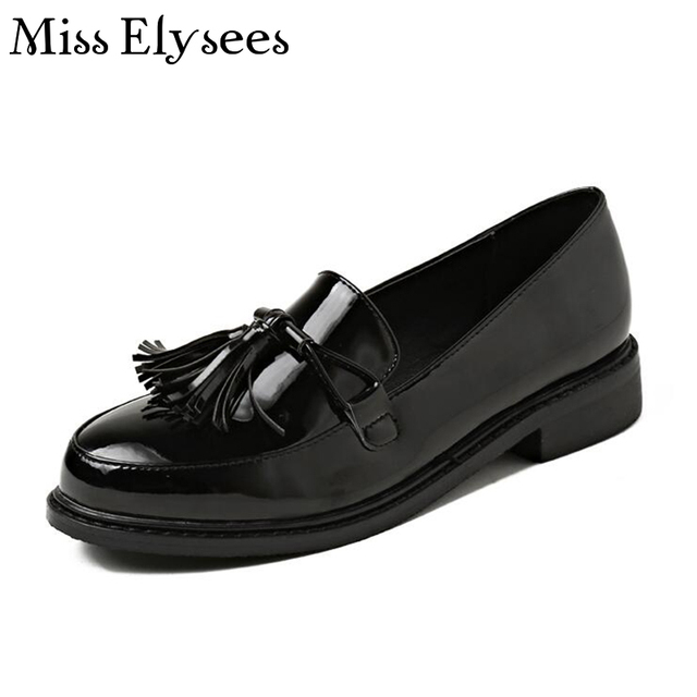 b76b2208 € 26.2 |Mujeres de Charol Zapatos de Plataforma Plana Negro Fringe Mujeres  Mocasines Primavera Zapatos de Mujer de Ocio Mocasines Mujer Plus Size 35  ...