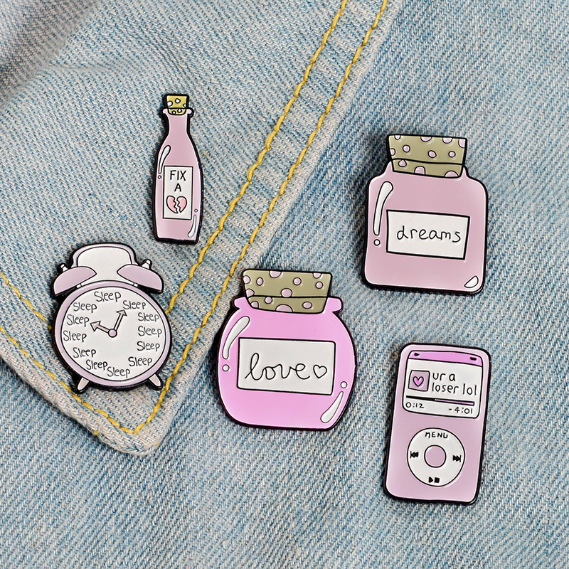 Pink Clock Music player Bottle Enamel pins Sleep Alarm clock Fix Love Dream Bottle Brooches Badges Lapel pin Gift for friend in Brooches from Jewelry Accessories