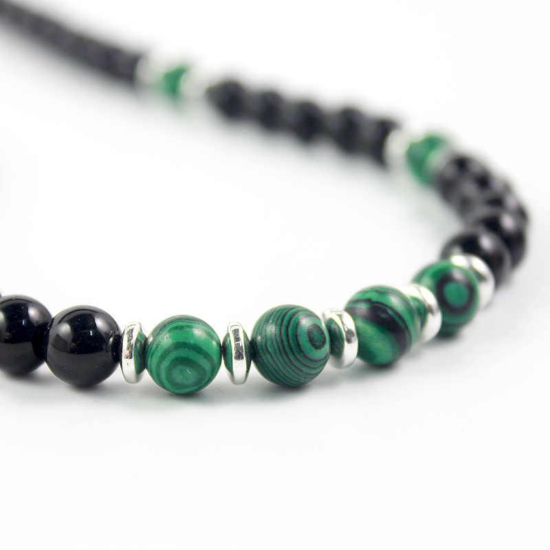 Oryginalny Design czarny Onyx 8mm kule naszyjnik z zielony malachit koraliki Handmade kamień naturalny biżuteria dla mężczyzn i kobiety