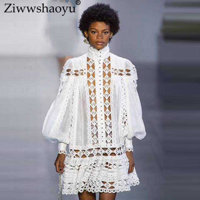 Sexy See Through Water soluble Mini Vacation dress Bohemian Beading Puff Sleeve Embroidery Dersses 2019 The runway  New Women