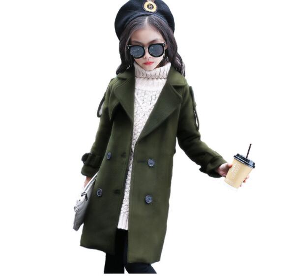 2018 winter children's clothes girls wool blends solid long section v-neck girl coats for girls big kids fashion wool outerwears gothic palace women wool blends steampunk long style winter wool jackets women s turn down collar wool long coats large sizes