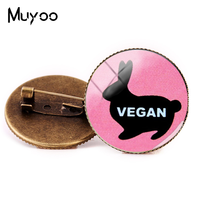 2018 New Vegan Logo Brooches Egetarian Diet Go Organic Jewelry Round Brooch Pin