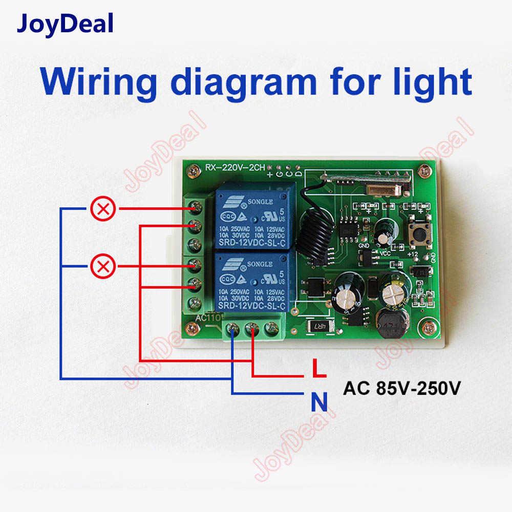 433 เมกะเฮิร์ตซ์ Universal รีโมทคอนโทรลไร้สาย AC 85 โวลต์ 110 โวลต์ 220 โวลต์ 2CH รีเลย์ตัวรับสัญญาณ RF 433 เมกะเฮิร์ตซ์สมาร์ทสวิทช์ไฟ Led