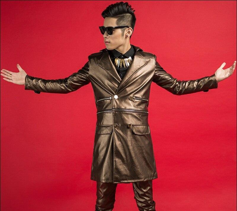 Long Spectacle Atmosphère Costume Mode Scène Manteau Homme Chanteur Tendance Dark Étoile Blazer Discothèque Brown Longue Danseur Mâle Marée De Bal Brun Veste YT00wB