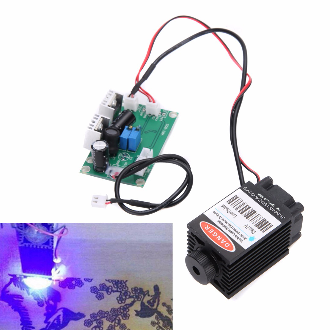 Focusable Blue Laser Module w/ TTL Driver Board 12V High Power 1.6W 450nm for CNC Wood Carving Laser Engraver Machine Accessory 2w blue laser head 450nm diy laser machine parts laser diode laser tube 2000mw ttl