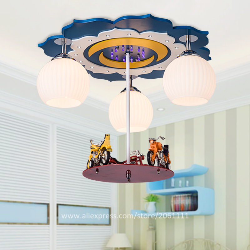 New Surface Mounted Decorated Led Childrens Light Fixtures Motorcycle Decoration Cool Lights For Kids Rooms Boys Pendant In From