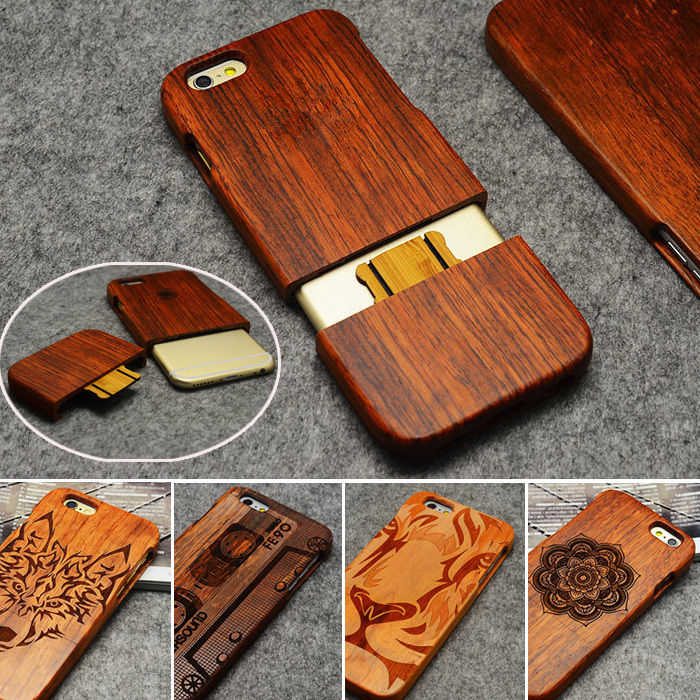 LYBALL Wooden Phone Case 100% Handmade Natural Real Wood Bamboo Hard Cover for Apple iPhone X XR XS MAX 8 7 Plus 6 6S Plus 5S SE