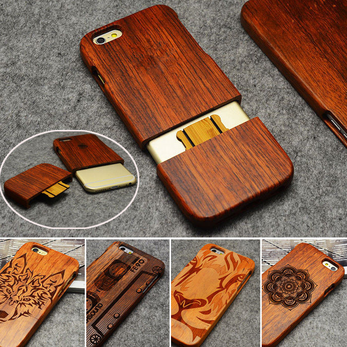 LYBALL Wooden Phone Case 100% Handmade Natural Real Wood Bamboo Cover for iPhone X 8 Plus 7 Plus 6 6S Plus 5S 5 SE